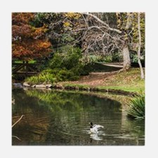 Duck Pond Scene Tile Coaster