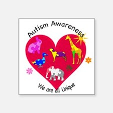 "Autism Awareness Animals Square Sticker 3"" x 3"""