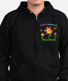 Autism Awareness Flowers Zip Hoodie