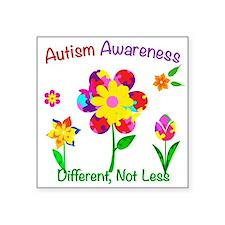 "Autism Awareness Flowers Square Sticker 3"" x 3"""