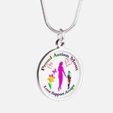 Proud Autism Mom Silver Round Necklace