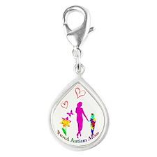 Proud Autism Mom Silver Teardrop Charm