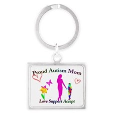Proud Autism Mom Landscape Keychain