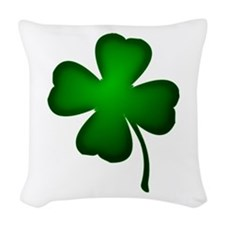 Four Leaf Clover Woven Throw Pillow