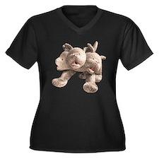 Hound of Heck Women's Plus Size V-Neck Dark T-Shir