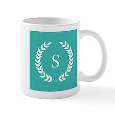 Turquoise Blue and White Monogram Laure Mug