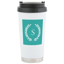 Turquoise Blue and Whit Travel Coffee Mug