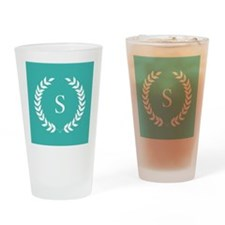 Turquoise Blue and White Monogram L Drinking Glass