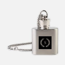 Black and White Monogram Laurel Wre Flask Necklace