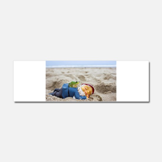 Napping Gnome Car Magnet 10 x 3