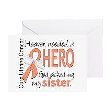 Uterine Cancer HeavenNeededHero1 Greeting Card