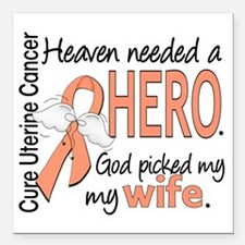 "Uterine Cancer HeavenNee Square Car Magnet 3"" x 3"""