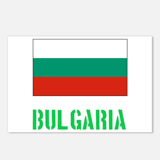 Bulgaria Flag Stencil Gre Postcards (Package of 8)