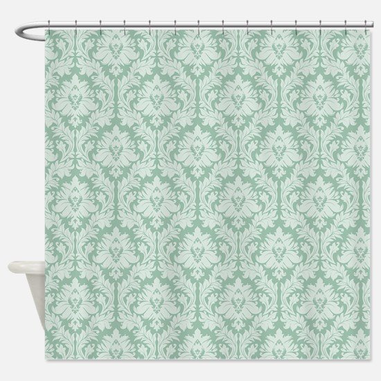 Jade green damask pattern Shower Curtain
