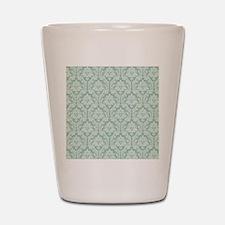Jade green damask pattern Shot Glass