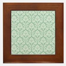 Jade green damask pattern Framed Tile