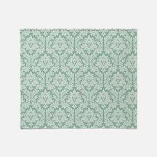 Jade green damask pattern Throw Blanket