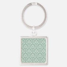Jade green damask pattern Square Keychain