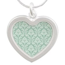 Jade green damask pattern Silver Heart Necklace
