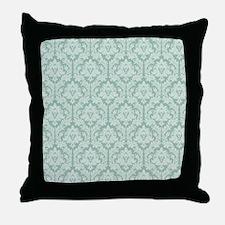 Jade green damask pattern Throw Pillow