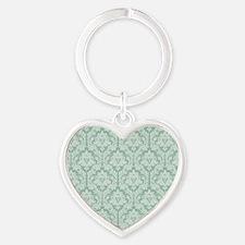 Jade green damask pattern Heart Keychain