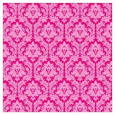 pink damask pattern Poster