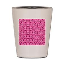 pink damask pattern Shot Glass
