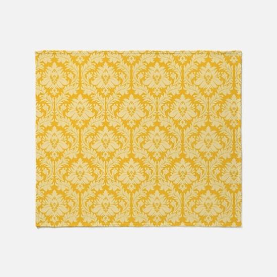 Yellow damask pattern Throw Blanket