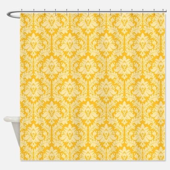 Yellow damask pattern Shower Curtain