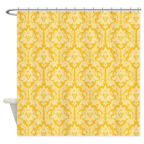 Merveilleux Yellow Damask Shower Curtains