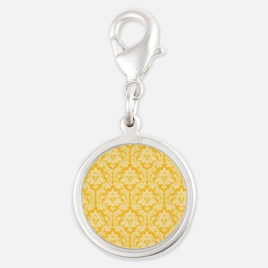 Yellow damask pattern Silver Round Charm