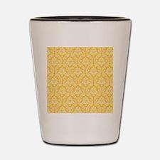 Yellow damask pattern Shot Glass