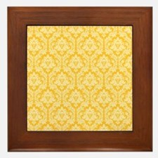 Yellow damask pattern Framed Tile