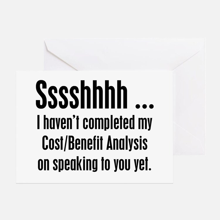 Cost Benefit Analysis Greeting Card