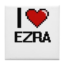 I Love Ezra Tile Coaster