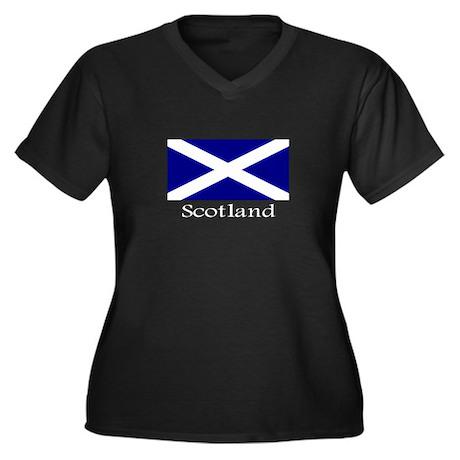 """""""Scotland"""" Women's Plus Size V-Neck Dark T-Shirt"""