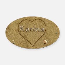 Karina Beach Love Oval Car Magnet