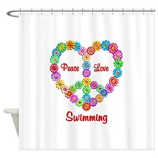 Swimming Peace Love Shower Curtain