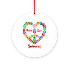 Swimming Peace Love Ornament (Round)