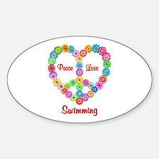 Swimming Peace Love Sticker (Oval)