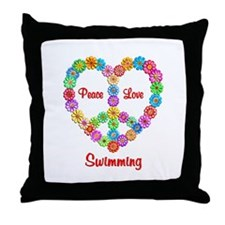 Swimming Peace Love Throw Pillow