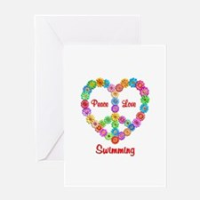 Swimming Peace Love Greeting Card