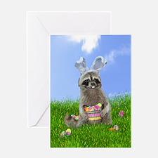 Easter Bandit Raccoon Greeting Cards
