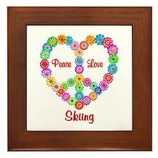 Skiing Peace Love Framed Tile