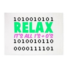 Relax It's All 1's + 0's 5'x7'Area Rug