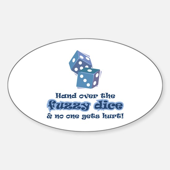 Hand fuzzy dice Oval Decal