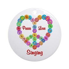 Singing Peace Love Ornament (Round)