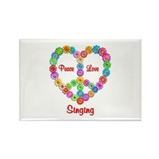 Singing Peace Love Rectangle Magnet