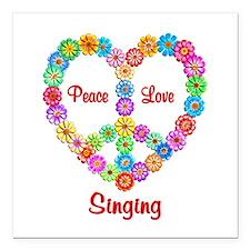 "Singing Peace Love Square Car Magnet 3"" x 3"""