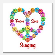 "Singing Peace Love Square Car Magnet 3"" x 3"""